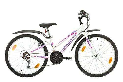 Multibrand, PROBIKE ADVENTURE, 24 Zoll, 290mm, Mountainbike, 18 gang, Schutzblech-Set, Für Damen, Kinder, Junioren (Weiß (with mudguard set))