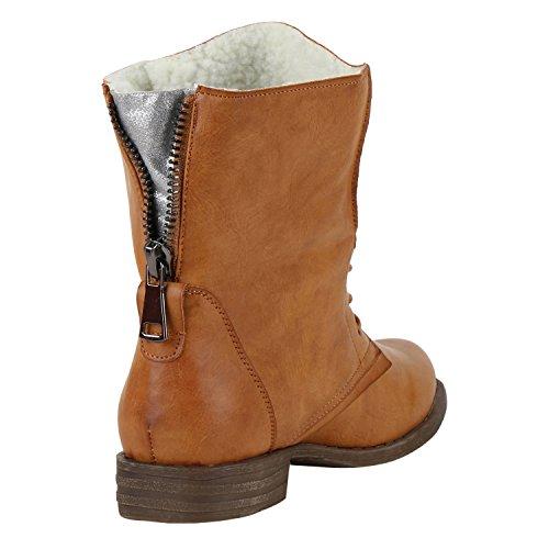 76ff867913e6 napoli-fashion Damen Schnürstiefeletten Spitze Stiefeletten Zipper Worker  Boot Jennika Hellbraun