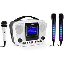 AUNA Kara KaraBanga et Dazzl Mic Set - Système karaoké, Karaoké, Effet Lumineux LED Multicolore, MP3, Ecran Couleur TFT, Bluetooth, Effet écho, Fonction A.V.C, Blanc