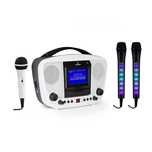 auna KaraBanga y juego de micrófonos Dazzl • Equipo de karaoke • Juego de Karaoke • Efecto luminoso LED multicolor • MP3 • Pantalla en color TFT • Bluetooth • Efecto eco • Función AVC • Blanco