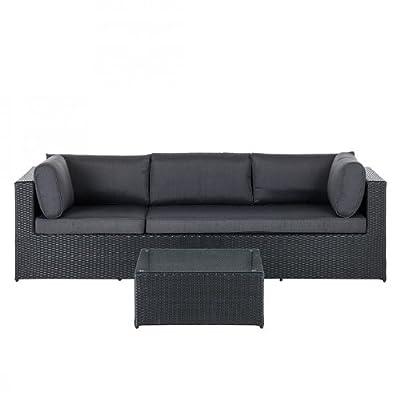 Gartensofa Chios 3-Sitzer mit Beistelltisch Polyrattan Schwarz Gartencouch Sofa Couch Terrasse Rasen Home24 NEU
