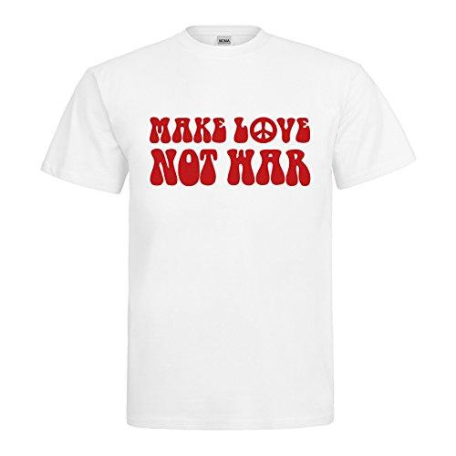 MDMA T-Shirt Make Love Not War N14-mdma-t00670-340 Textil white / Motiv rot Gr. (Oldies Kostüm)