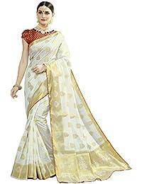 Naari Vastram Women's Cotton Silk Jacquard Blend Printed Saree With Blouse Piece (Off White N-105)