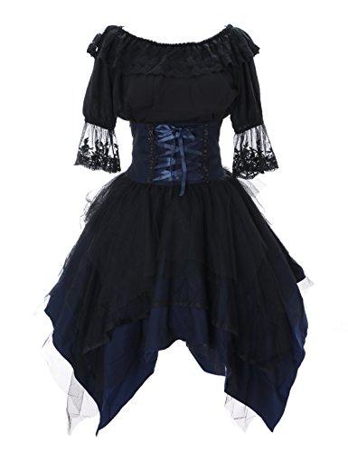 Kawaii-Story JL-640-1 blau schwarz Rock & Bluse Tüll Spitze Kleid Victorian Rococo Stretch Gothic Lolita Kostüm Cosplay (Stretch ()