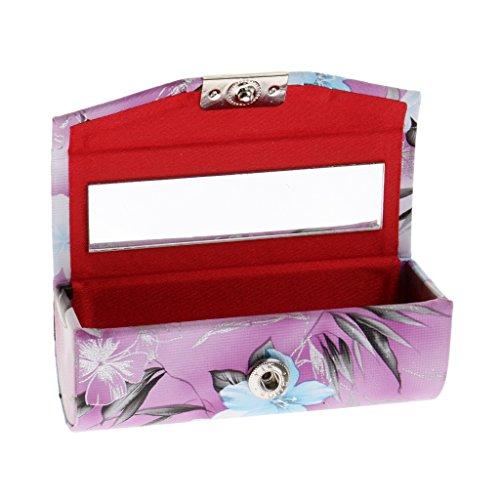 Sharplace Exquis Sac de Rangement Rouge à Lèvres/Lip Gloss/Bijoux/Petit Article en Cuir PU avec Fermeture à Bouton en Métal - Violet