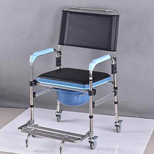 duschstuhl fahrbar CCDZ Edelstahl Rollstuhl Toilettenstuhl Toilettenstuhl Faltbar Rollstuhl Fahrbarer Toilettenstuhl Duschstuhl Nachtstuhl Auf Rollen Transportrollstuhl 360°C Drehbar Mit Feststellbremse