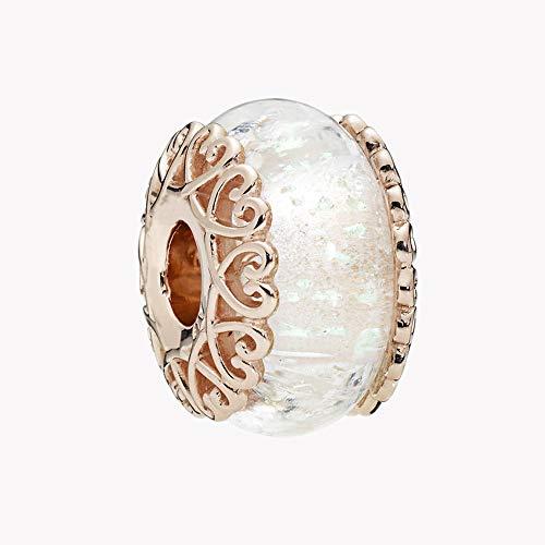 Chicbuy 2018autumn rose perline di vetro bianco iridescente 925argento diy adatto per originale pandora bracciali charm fashion jewelry
