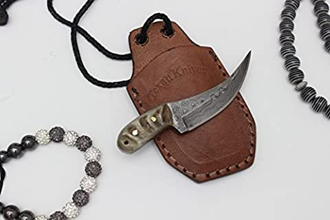 SMALL DAMASCUS PAPER SWORD / KNIFE,CLASSIC DESIGN WITH BUFFALO / RAM HORN HANDLE,IDEAL GIFT,UNDER 3 INCHES BLADE(1.75) COMES WITH CUSTOM MADE SHEATH / COVER*** FOR OVER 18