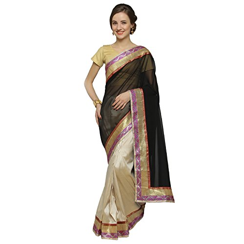 Florence Black & Beige Chiffon & Tussar Silk Embroidered Saree with Blouse  available at amazon for Rs.752