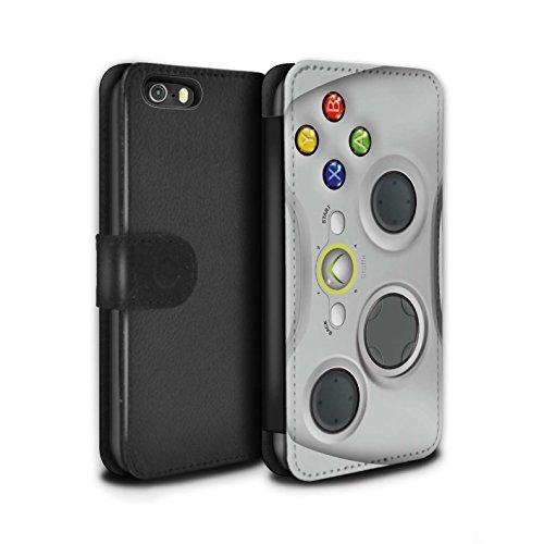 STUFF4 PU-Leder Hülle/Case/Tasche/Cover für Apple iPhone 5/5S / Weiß Xbox 360 Muster / Spielkonsolen Kollektion (Xbox 360 E Fall-haut)
