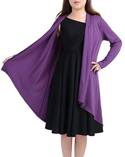 Timormode Chic Cardigan à Manches longues Gilet Femme Asymétrique Ouvert Veste longue Femme en Coton élastique M à 3XL Bleu Royal