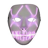 Flashez Light up Masks UK Brand LED Glow in The Dark Scary Mask Costume Fancy Dress (Red)