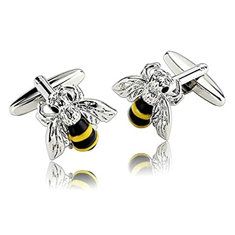 AnaZoz Fashion Jewelry Stainless Steel Mens 1 Pair Cufflinks Novelty Crystal Bee Insect Style Silver Men's Cuff