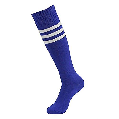 n High Stripe Long Socken Über Kniestrümpfen für Fußball Gymnastik Kostüm Baumwolle Casual (Blau) (Damen Schiedsrichter Kostüm Socken)