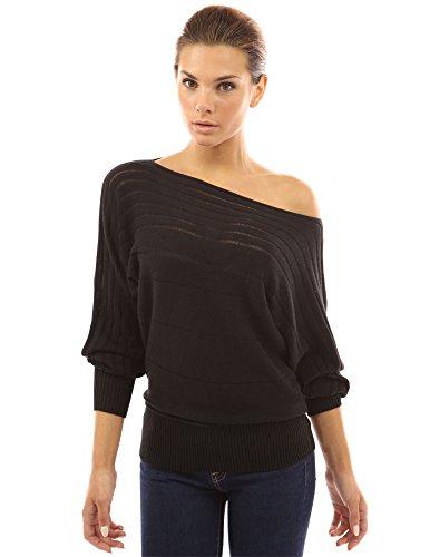 PattyBoutik Damen One Shoulder Pullover mit Boot Auschnitt und Fledermaus Ärmeln (schwarz L 42/44) -