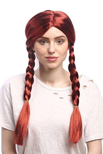 Wig me up ® - wg-7039-za350 parrucca donna carnevale rosso rosso fuoco lunge trecce riga in mezzo 60 cm