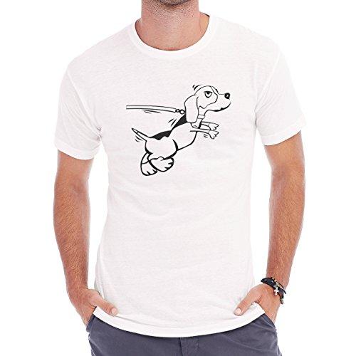 Dog Pets Puppies Animal Walking White Black Herren T-Shirt Weiß