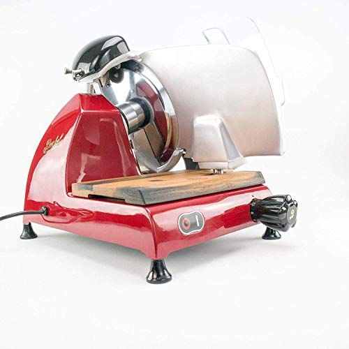 Berkel Red Line 220 | Profi-Aufschnittmaschine mit integriertem Schleifapparat | rot | (Line 220 rot + Schneidebrett aus Fassholz) | VK: 1070,- €
