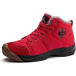 Axcone Botas De Invierno Impermeables Para Hombre O Mujer Zapatillas De Trekking Antideslizante Rojo