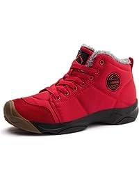 Axcone Chaussures Homme Femme Bottes Hiver imperméable Neige Randonnee Chaudement Chaudes Fourrure Baskets Bottines - Gris Rouge Marron Cyan Noir Rose 36-48EU
