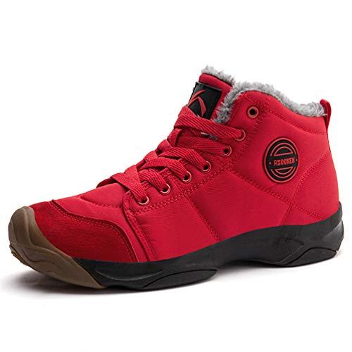 Axcone Winterschuhe Damen Herren Warm Gefüttert wasserdicht Winterschuhe Winter Outdoor Boots Wanderstiefel Stiefel Unisex - Rot 36EU