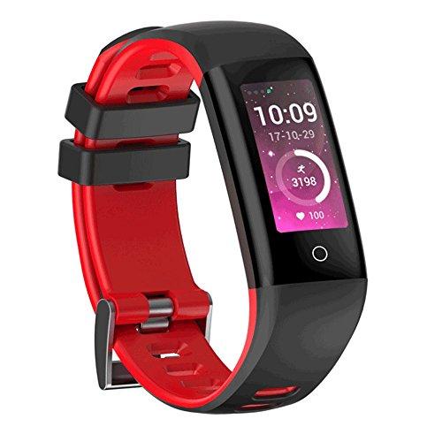 Zmsdt Deportes Pulsera Inteligente Medición de la frecuencia cardíaca Esfigmomanómetro Paso Bluetooth Recordatorio de Mensajes de Llamada IP67 Banda Inteligente a Prueba de Agua (Color : Red)