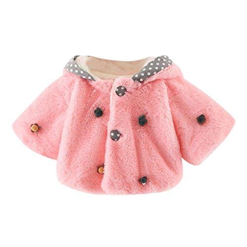 Bekleidung Longra Baby Kleinkind Mädchen winterjacke Kinderjacken Fell Warm Winter Coat Mantel Jacke Dicke warme Kleidung(0-24Monate) (70cm 6Monate, Pink01) (Cord Fell)