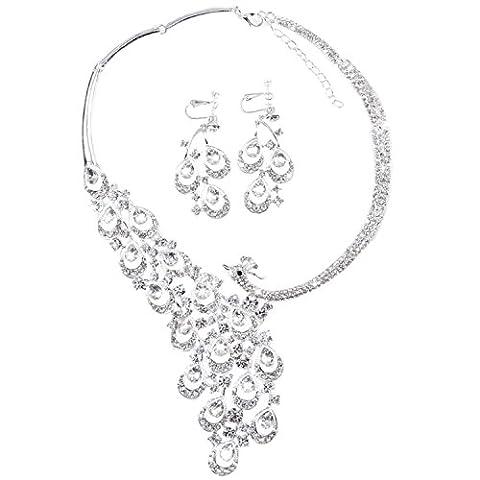 OFTEN (TM) Fahion Womans Rhinestone Crystal Necklace Earring Set Wedding Evening Travel …
