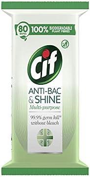Cif Antibac & Shine Disinfectant 99.9% bacteria kill* Antibacterial Wipes Multipurpose (6x80) 480 w