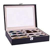 Handmade Acrylic Plate Glass Windows Leather Sunglasses Storage Box For 8 Glasses B085