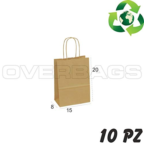 OverBags - 10 PZ Borsa Shopper Sacchetto in Carta Avana 15X8X20 Manici RITORTI