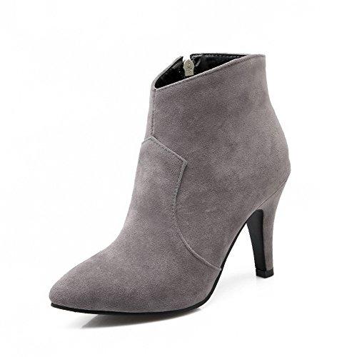 AllhqFashion Damen Eingelegt Hoher Absatz Rund Zehe Reißverschluss Stiefel mit Metallisch, Silber, 34