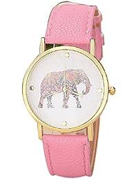 Malloom® 2015 moda mujeres patrón de la impresión del elefante cuero de la PU reloj de línea de cuarzo, reloj de pulsera Rosa