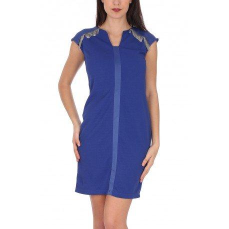 Ideal Shoes - Robe bi-matière avec strass Talissa Bleu