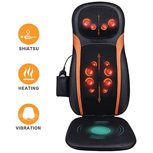 Massagesitzauflage Shiatsu Massageauflage Massagematte mit Wärmefunktion - Elektrisch Rückenmassagegerät mit Kneten Rollmassage, 3 Massagezonen, Vibrationmassage für Nacken Rücken Gesäß Entspannung