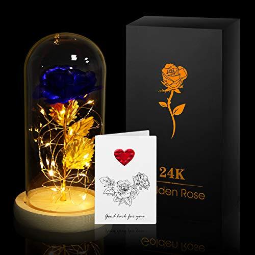Anbet rose incantate la bella e la bestia, oro rosa 24 carati in cupola di vetro su base in legno con biglietto di auguri regalo per san valentino anniversario festa della mamma