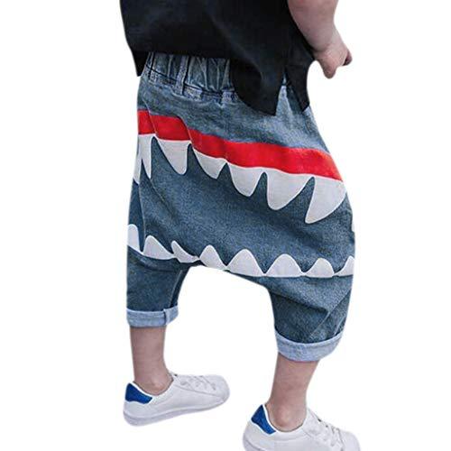 Allence Baby Kinder Kinder Jungen MäDchen Cartoon Shark Zunge Harem Hosen Hosen Hosen Blau 1-6 Jahre