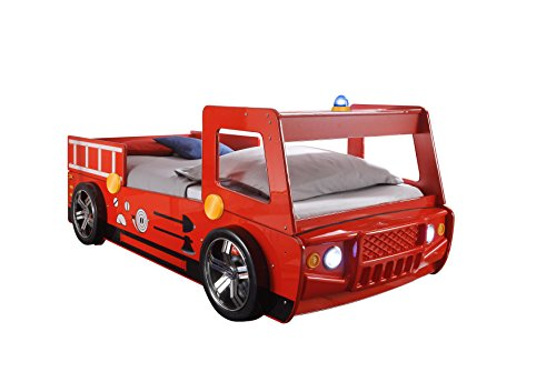 feuerwehrbett kinder Stella Trading Spark Autobett, Holz, Rot, 225 x 108 x 91 cm