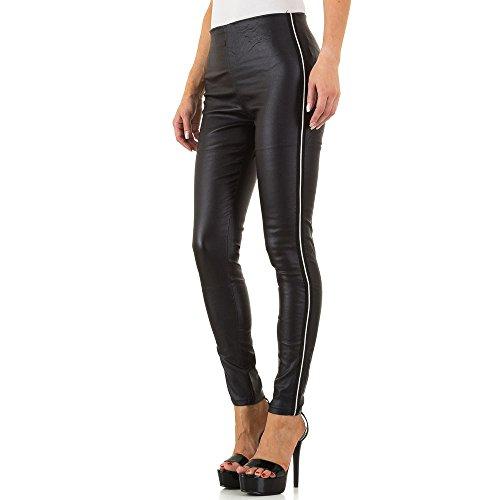 Ital-Design Lederoptik Skinny Hose Für Damen, Schwarz In Gr. 34/Xs