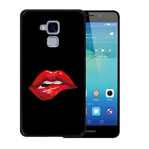 WoowCase Huawei GT3 Hülle, Handyhülle Silikon für [ Huawei GT3 ] Sexy Lippenbiss Handytasche Handy Cover Case Schutzhülle Flexible TPU - Schwarz