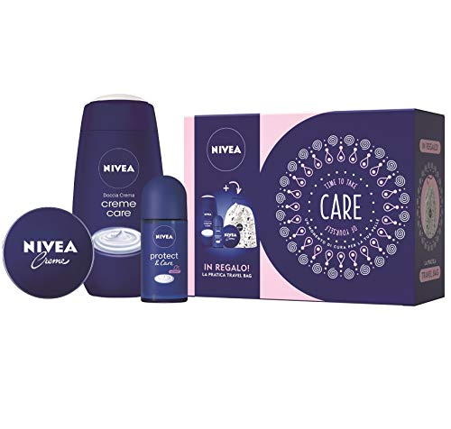 Nivea care kit set regalo donna con nivea crème 75 ml, doccia crema crème care 250 ml, deodorante protect & care roll-on 50 ml e travel bag