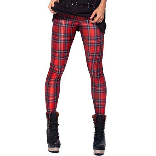 Print-gerippte Strickjacke (HG Sexy Frauen-Hose, Punk-Stil, Dehnbar, Leggings, Galaxy-Design, Fitness, Farbige Hose Gr. M, rot)