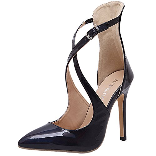 Oasap Women's Pointed Toe Cross Buckle High Heels Pumps Black