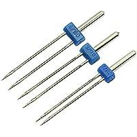 LAMEIDA Doble Agujas para máquina de Coser gemelas Agujas Pinzas de coser Accesorios de Máquina agujas para Costura(Tamaño 2.0/90 3.0/90 4.0/90-Azul-3 unidades
