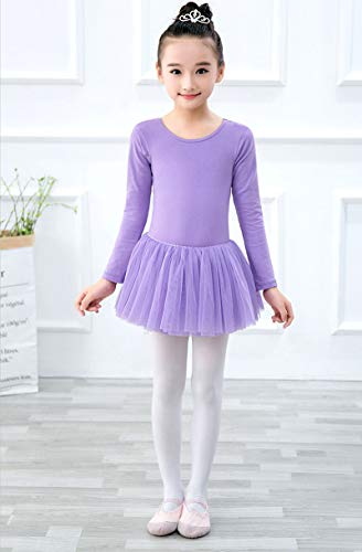 MARXHOT Girls Princess Long Sleeve Ballet Dance Kostüme Leotard Dresses Tutu Wrap Rock für Kinder 6-15 Jahre,Purple,150CM