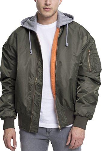 Urban Classics Herren Jacke Hooded Oversized Bomber Jacket, Mehrfarbig (Olv/Gry 1161), Large