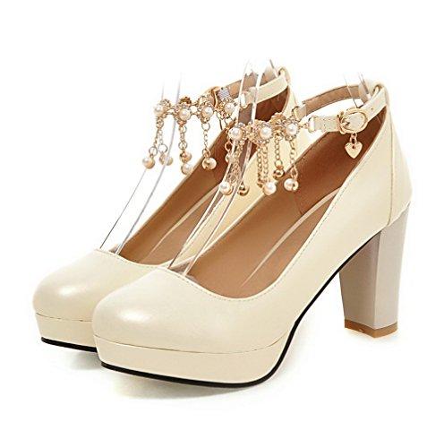VogueZone009 Damen Weiches Material Rund Zehe Hoher Absatz Schnalle Rein Pumps Schuhe Cremefarben