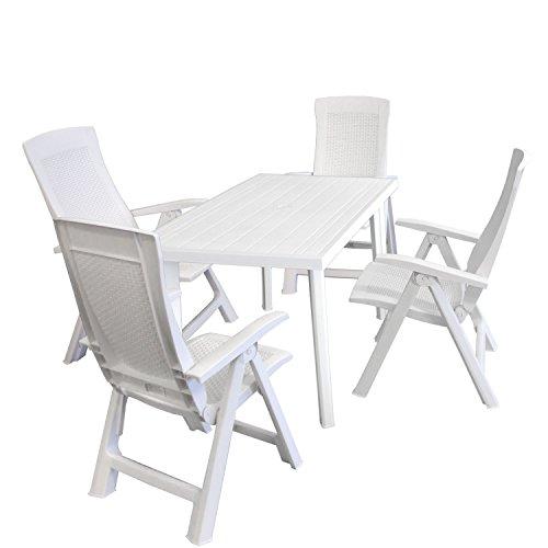 Gartengarnitur Gartentisch 125x75cm + 4x Gartenstuhl, Rückenlehne 5fach klappbar, Rattanoptik, Kunststoff Campingstuhl - Weiß