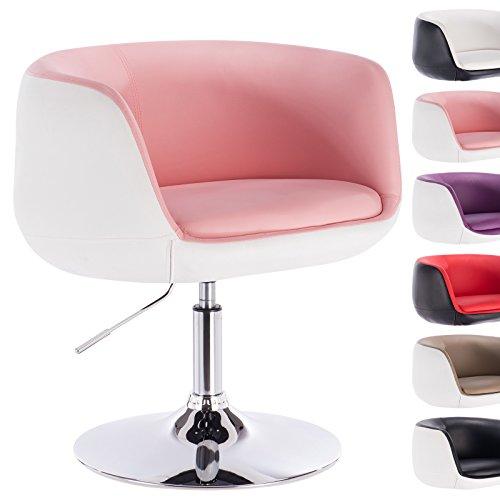 WOLTU® BH42rsw-1 Fauteuil avec accoudoir en cuir synthétique chaise canapé longue,design 2 couleurs,Rose Blanc