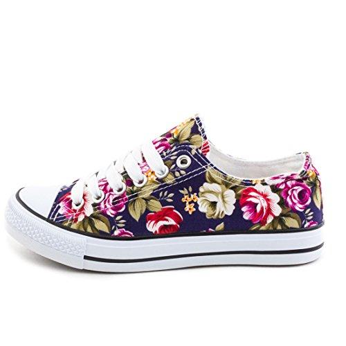 Trendige Unisex Damen Kinder Herren Schnür Sneaker Low Top Schuhe Canvas Textil Dunkelblau Flora